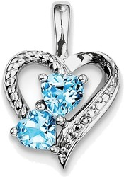 Sterling Silver Rhodium-plated Blue Topaz Diamond Pendant QP3138BT