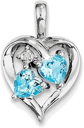 Sterling Silver Rhodium-plated Blue Topaz Diamond Pendant QP3139BT
