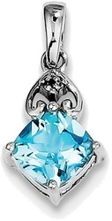 Sterling Silver Rhodium Plated Diamond and Light Swiss Blue Topaz Pendant