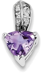 Sterling Silver Rhodium Plated Diamond Amethyst Trillion Pendant