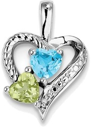 Sterling Silver Rhodium-plated Blue Topaz Peridot Diamond Pendant QP3857