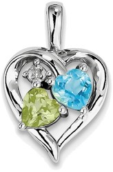 Sterling Silver Rhodium-plated Blue Topaz Peridot Diamond Pendant QP3858