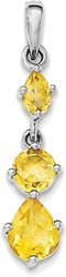 Sterling Silver Rhodium-plated Citrine Pendant QP4542CI