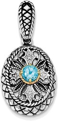 Sterling Silver Rhodium w/14K Yellow Gold Accent Blue Topaz & CZ Oval Pendant