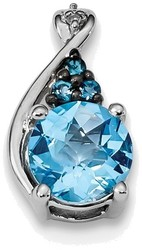 Sterling Silver Rhodium-plate Diamond Swiss & London Blue Topaz Pendant