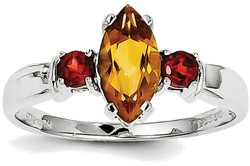 Sterling Silver Rhodium Marquise Citrine & Round Garnet Accents Ring
