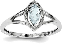 Sterling Silver Rhodium Plated Diamond & Aquamarine Marquise Ring