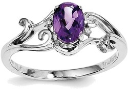 Sterling Silver Rhodium Plated Amethyst and Diamond Oval Ring QR4500AM