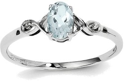 Sterling Silver Rhodium Plated Diamond and Aquamarine Oval Ring QR4505AQ
