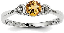 Sterling Silver Rhodium Plated Citrine and Diamond Round Ring