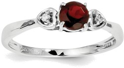 Sterling Silver Rhodium Plated Garnet and Diamond Ring QR4511GA