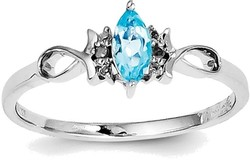 Sterling Silver Rhodium Plated Diamond and Sky Blue Topaz Ring QR4512BT