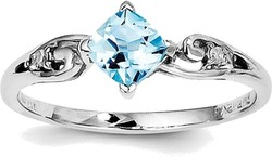 Sterling Silver Rhodium Plated Diamond and Sky Blue Topaz Cushion Ring QR4513BT