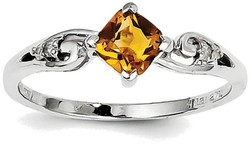 Sterling Silver Rhodium Plated Citrine and Diamond Cushion Ring