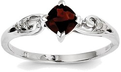 Sterling Silver Rhodium Plated Garnet and Diamond Cushion Ring QR4513GA