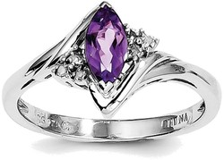 Sterling Silver Rhodium-plated Amethyst & Diamond Ring QR4542AM