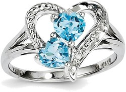 Sterling Silver Rhodium Blue Topaz Diamond Ring QR4568BT