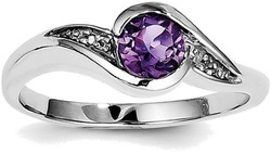 Sterling Silver Rhodium Plated Amethyst and Diamond Round Ring QR4635AM