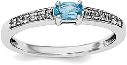 Sterling Silver Rhodium Blue Topaz and White Topaz Ring