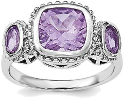 Sterling Silver Rhodium-plated w/Amethyst Ring