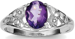 Sterling Silver Rhodium-plated Amethyst Ring QR667