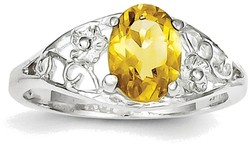 Sterling Silver Rhodium Oval Citrine w/ Fancy Cutout Ring