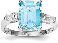 Sterling Silver Rhodium Rectangular Blue Topaz Ring