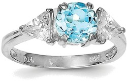 Sterling Silver Rhodium Round Blue Topaz & CZ Accents Ring