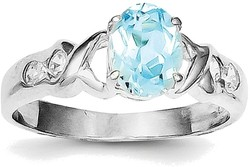 Sterling Silver Rhodium Oval Blue Topaz and CZ Ring