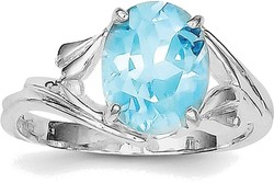 Sterling Silver Rhodium Oval Blue Topaz Ring