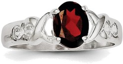 Sterling Silver Rhodium-plated Garnet & CZ Ring QR756