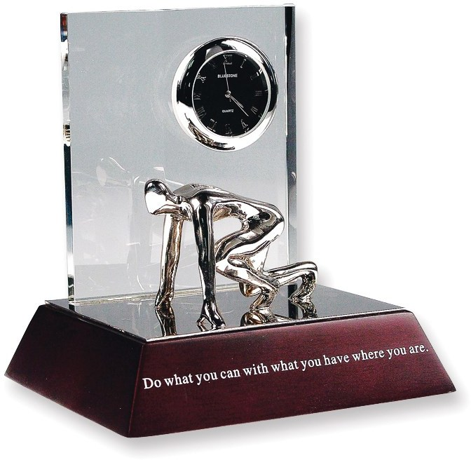 You Can Do It Crystal Inspirational Desk Sculpture