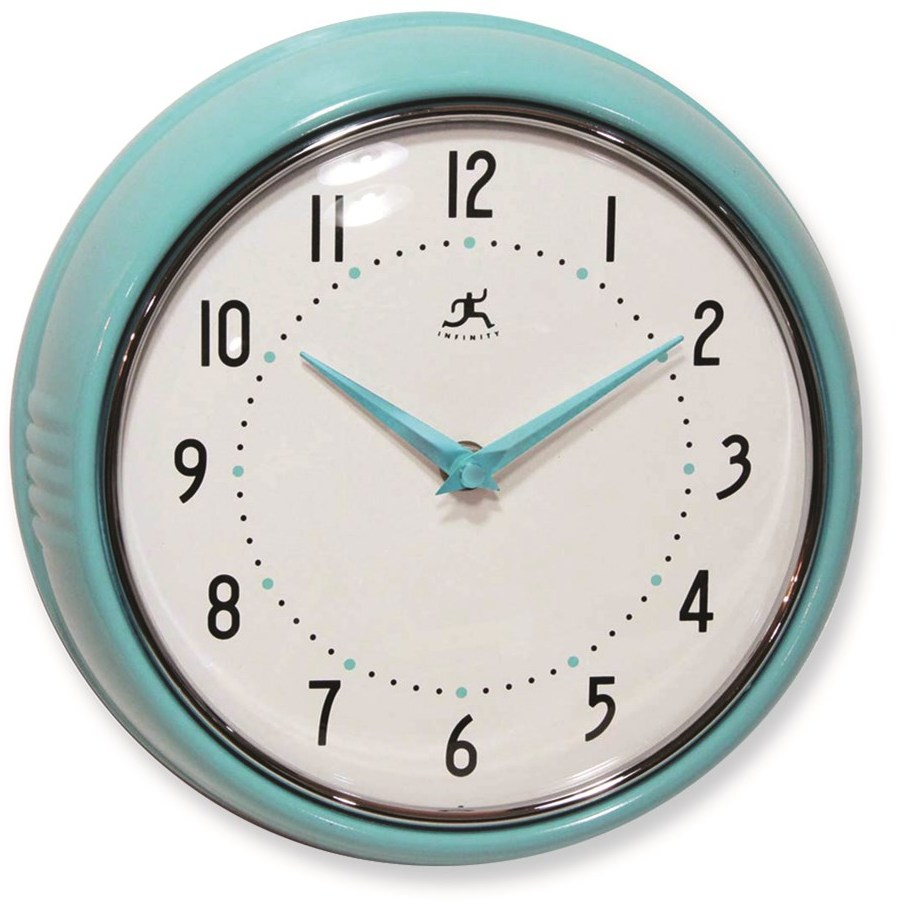 Turquoise-Color Retro Metal Wall Clock