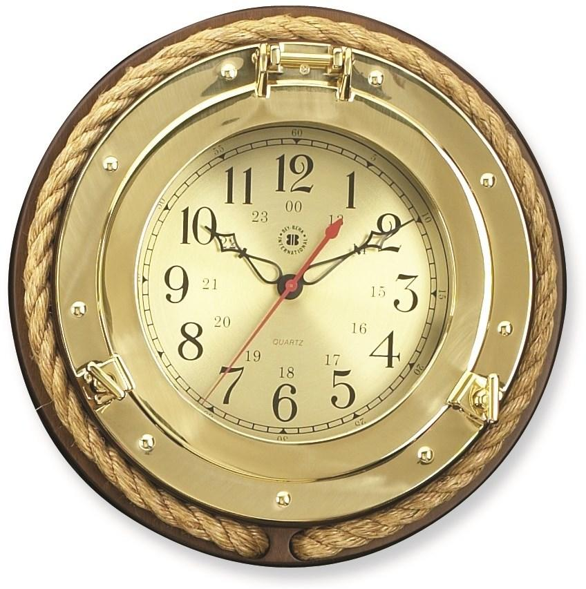 Brass Porthole with Rope Clock