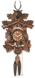 Carved Animals Hunters Cuckoo Clock Handmade in Germany