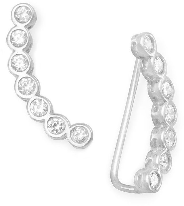 Rhodium Plated Bezel CZ Ear Climbers 925 Sterling Silver