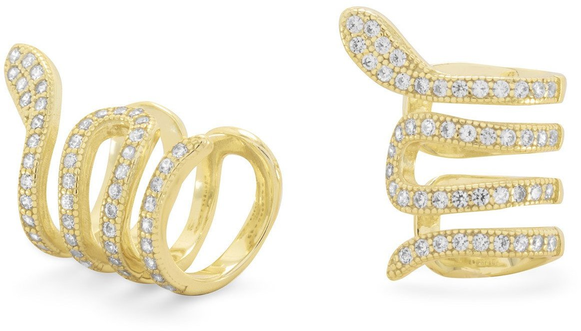 14 Karat Gold Plated Snake Ear Cuffs with Signity CZs 925 Sterling Silver
