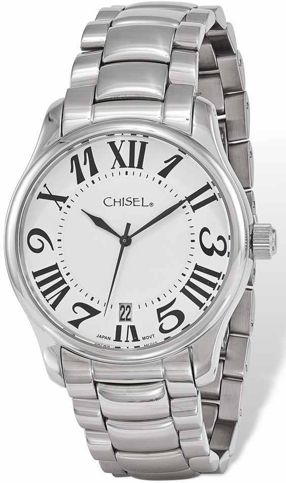11c267695 Mens Chisel Stainless Steel White Dial Watch TPW113