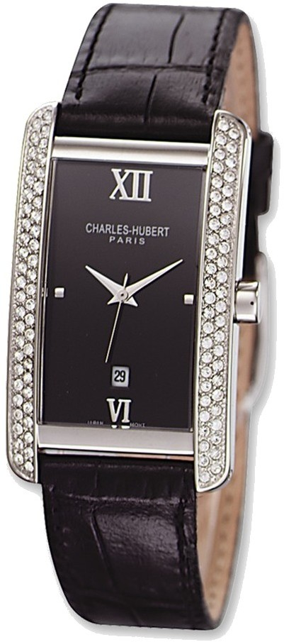 Mens Charles Hubert Leather Band Black Dial 27x37mm Watch