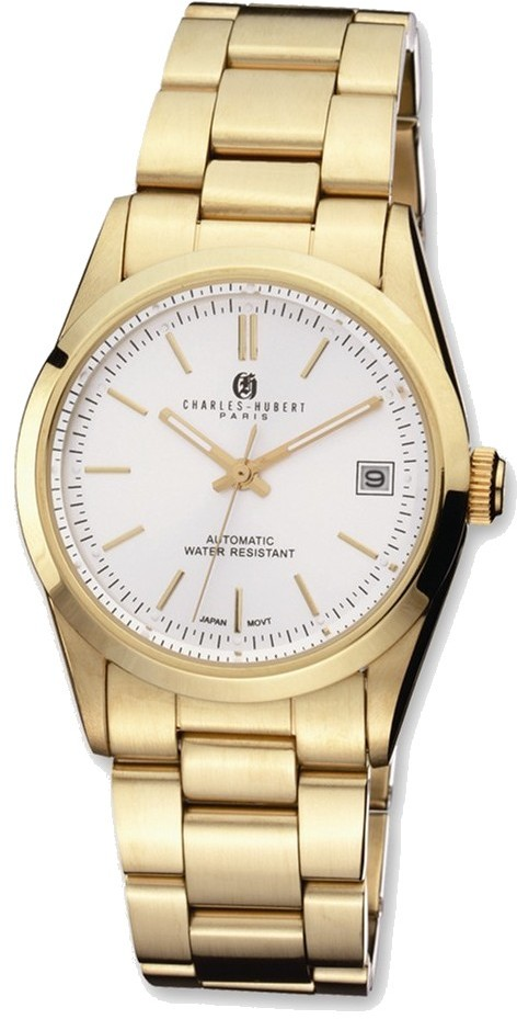 Mens Charles Hubert IP Gold-plated Stainless White Dial Automatic Watch