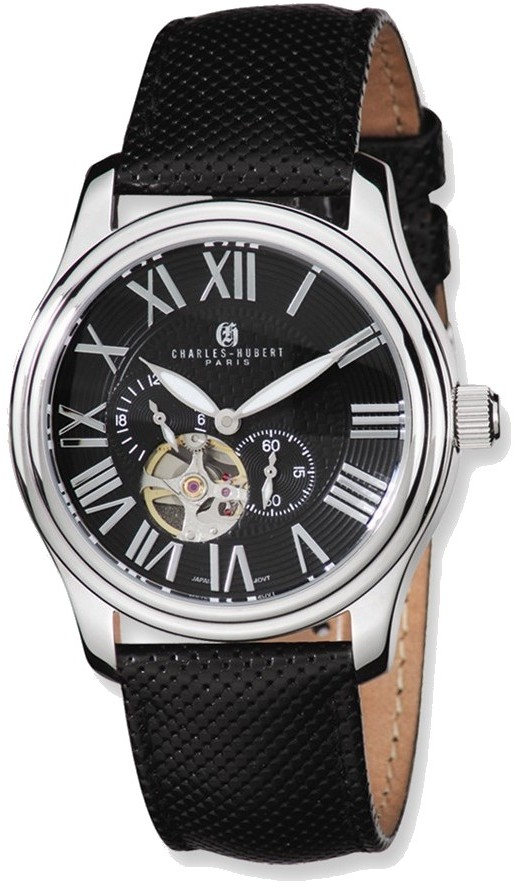 Charles Hubert Stainless Steel Case Black Dial Automatic Watch