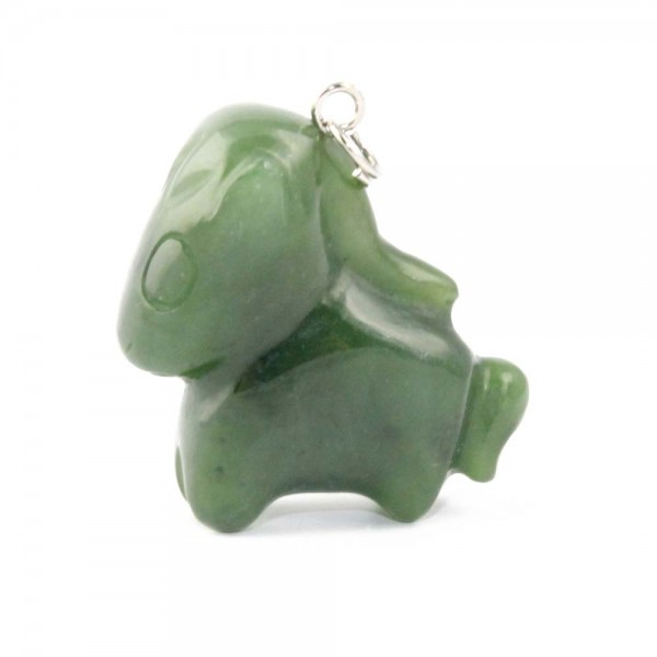Genuine Natural Nephrite Jade Cartoon Charm: Horse