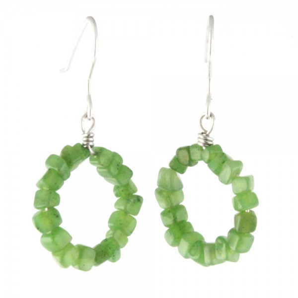 Genuine Natural Nephrite Jade Chips Dangle Earrings Sterling Silver
