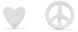 Mismatch Heart and Peace Sign Earrings 925 Sterling Silver