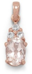 14 Karat Rose Gold Plated Morganite and White Topaz Pendant 925 Sterling Silver