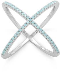 Rhodium Plated Criss Cross X Ring with Blue CZs