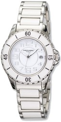 Mens Charles Hubert Stainless Steel and Ceramic White Dial Watch