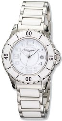 Ladies Charles Hubert Stainless Steel and Ceramic White Dial Watch