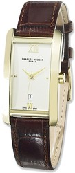 Mens Charles Hubert Leather Band Cream Dial 27x37mm Watch