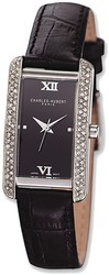 Ladies Charles Hubert Leather Band Black Dial 21x30mm Watch